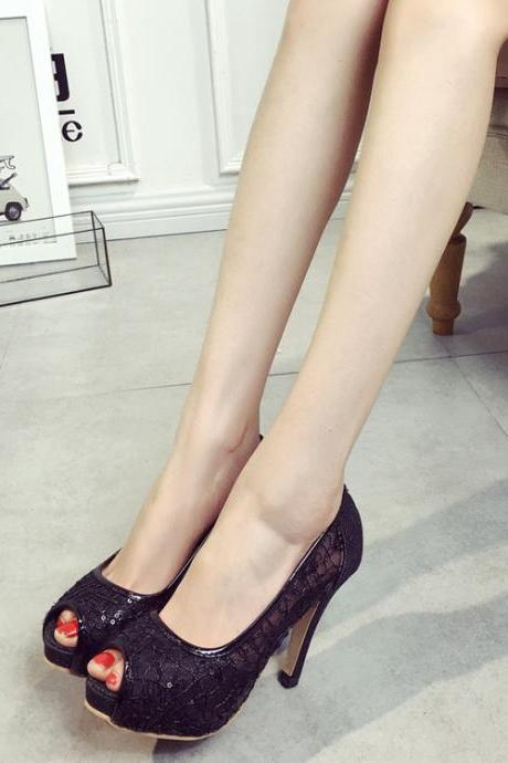 Lace Peep-Toe High Heel Pumps