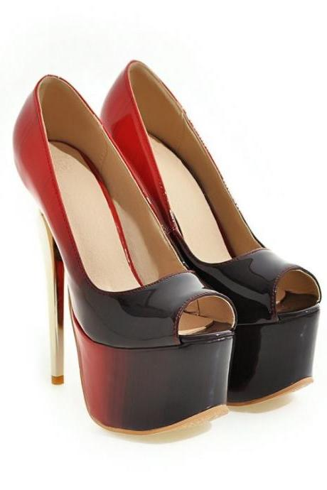 PU Stiletto Heel Pure Color Peep-toe High Heels