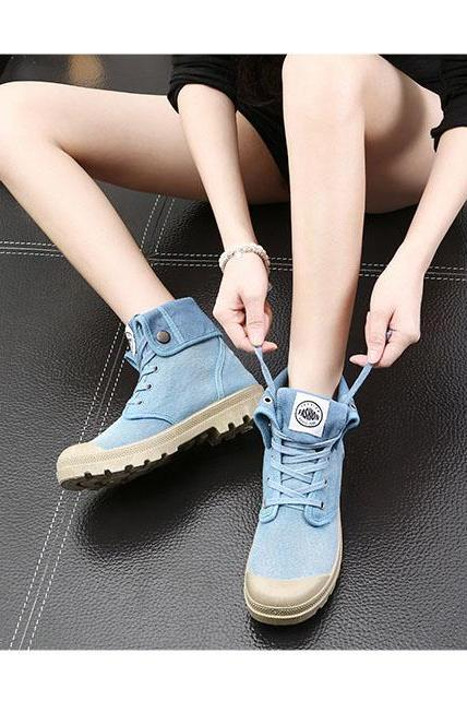 Canvas Chunky Heel Pure Color Round Toe Short Boots