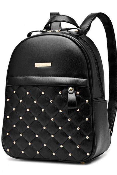 Quilted Lining Rivet Decoration Women Backpack