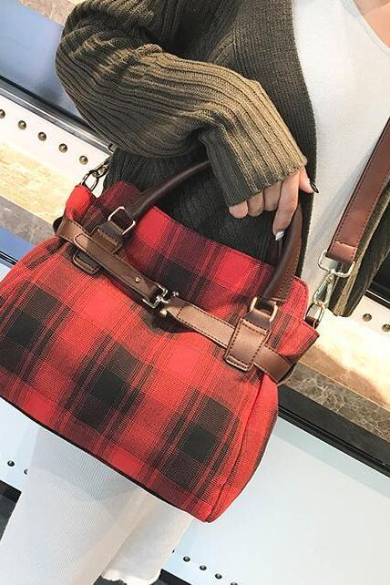 Well Match Plaid Pattern Women Satchel