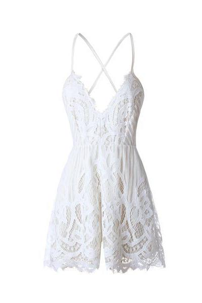 Spaghetti Straps V-neck Backless Hollow Out Lace Short Jumpsuit