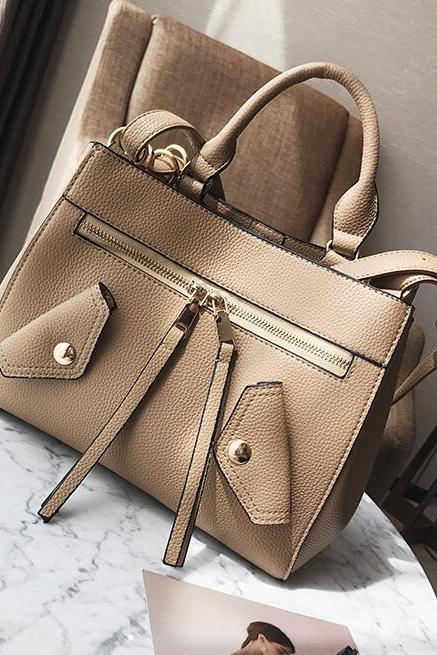 Well-Match Solid Color Women Satchel