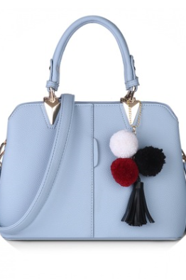 Pure Bright Colour Tote Shoulder Bag with Pompom and Tassel Detailing