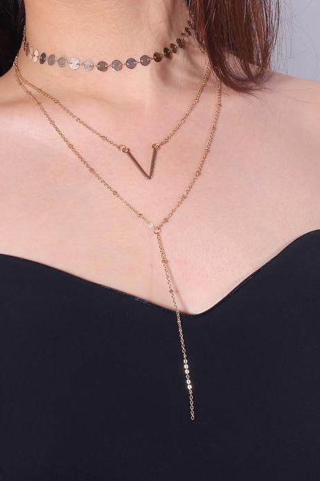 V Alphabet Sequins Multilayer Clavicle Necklace