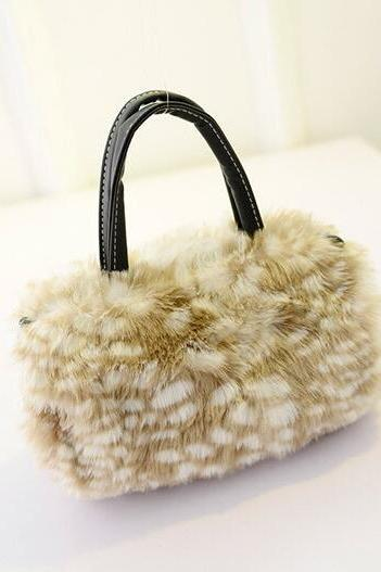 Fashion Plush Women PU Handbag