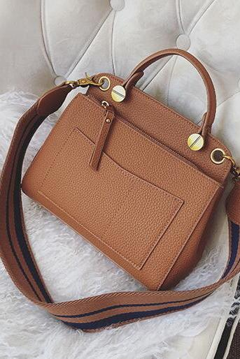 Chic Wide Shoulder Straps Zipper Women Satchel