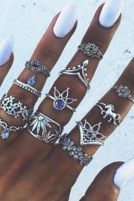 The Unicorn Lotus Hollow Out Set Auger 13 Pieces Of Each Ring Set