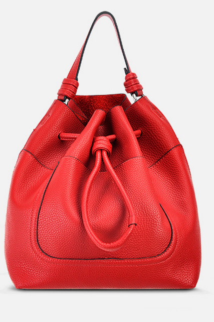 Solid Color Barrel-Shaped String Satchel