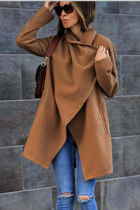Solid Color Lapel Open Long Loose Coat