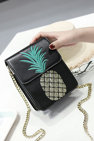 Pineapple Pattern Embroidery Beads Crossbody Bag