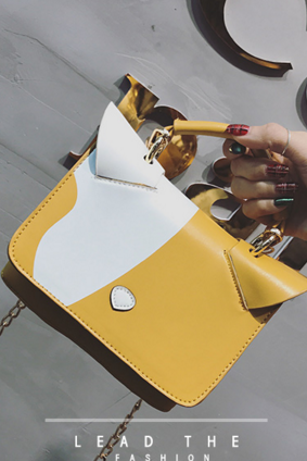 Cat Ear Shape Design Color Block Cross Body Bag