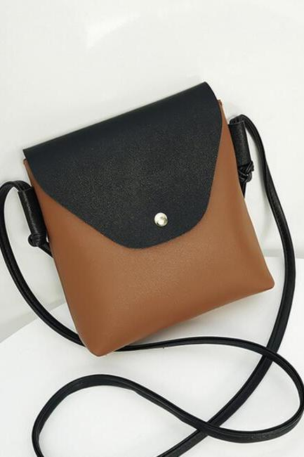 Casual Color Block PU Crossbody Bag