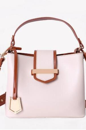 Vintage Color Block Zipper PU Satchel