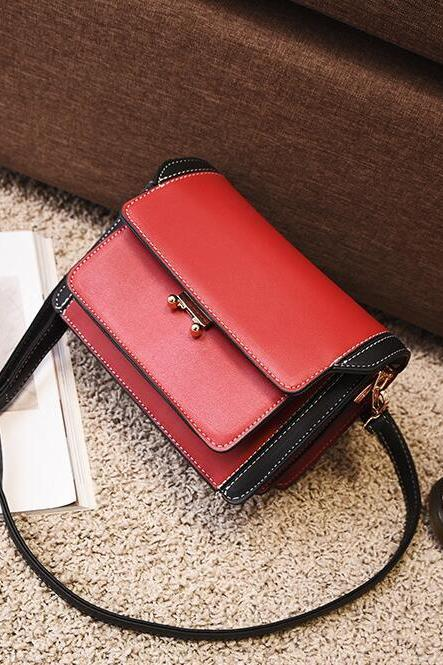 Korean Style Color Block Multi-storey Crossbody Bag