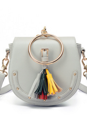 Round Rivets Tassel Decorated Crossbody Bag