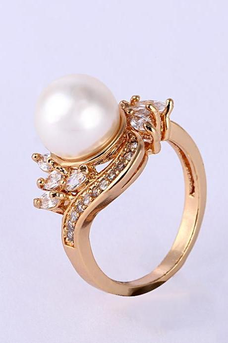 Fashion Gold-plated Simulation Of Pearl Ring
