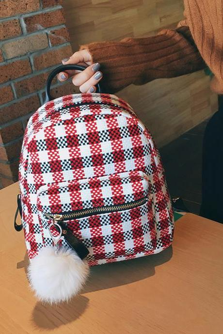 Casual Plaid Pattern Women Backpack