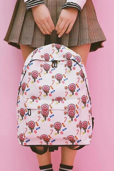 Cute Lollipop Print Backpack School Bag