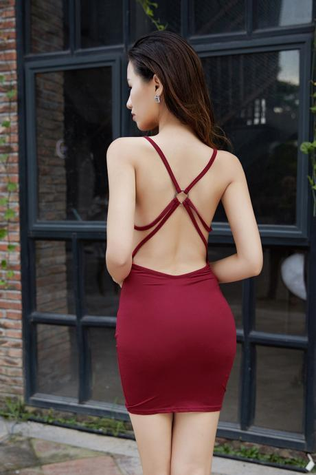 High elastic force Pure Color Sleeveless Camisole Bodycon Straps Blackless Sexy Dress