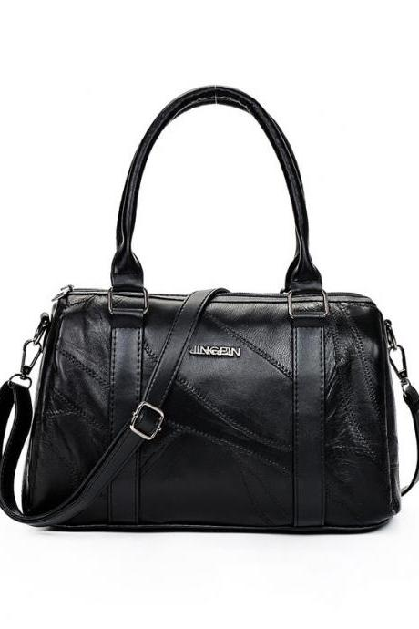 Casual Plain Zipper Satchel
