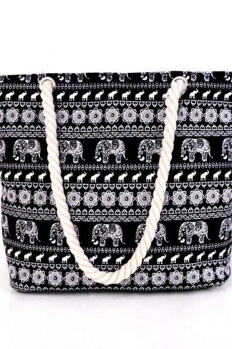 Beautiful with Elephant Pattern Canvas Women Tote Bag