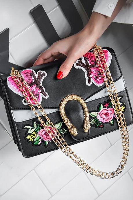 Floral Embroidered Front Flap Chained Crossbody Bag