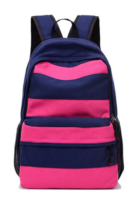 Casual Color Block Stripe Zipper School Backpack