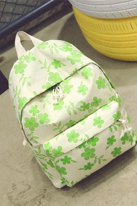 Simple Floral Printing Oxford Backpack