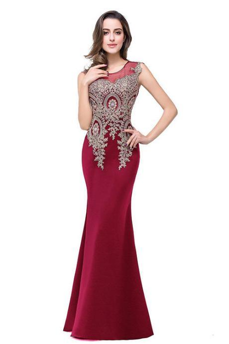 Mesh Patchwork Applique Mermaid Long Party Dress