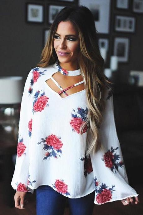 Flower Print Scoop Long Sleeves Loose Blouse