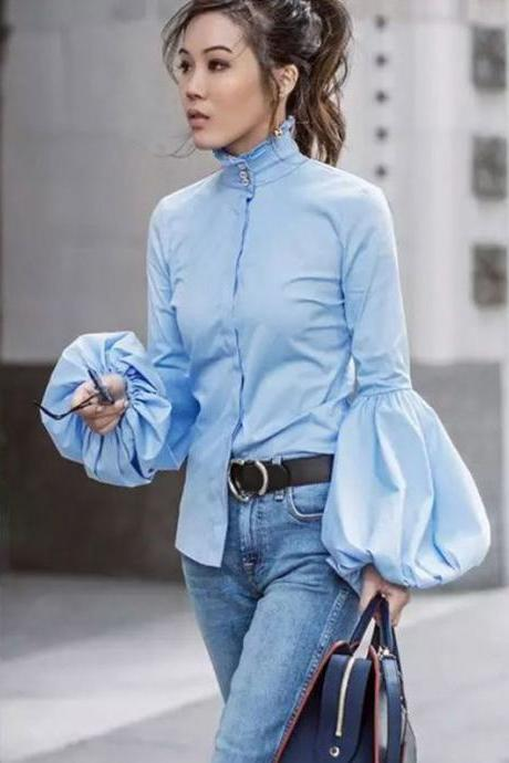 High-Neck Button Down Shirt with Lantern Sleeves