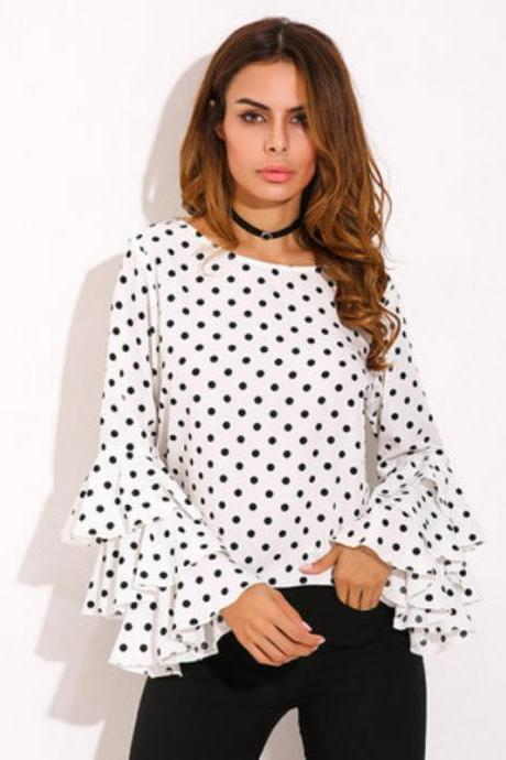 Polka Dots Chiffon Bateau Neck Long Ruffled Tiered Sleeves Blouse