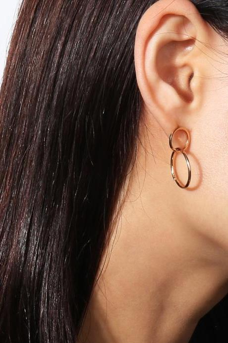 Delicate Eight Copper Ring Luck Stud Earrings