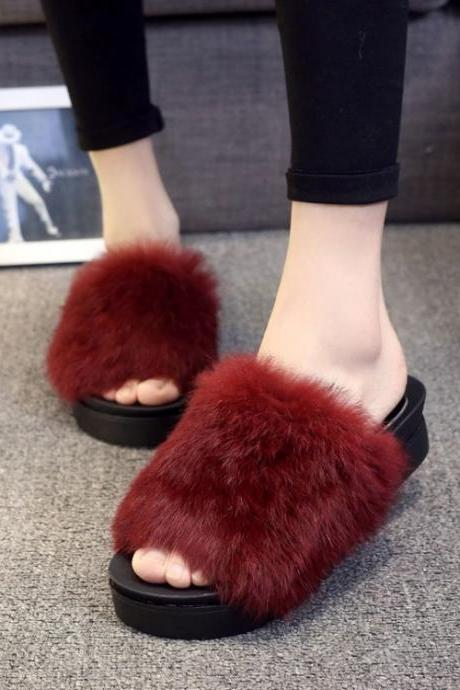 Faux Fur Decorate Open Toe Platform Slipper Sandals