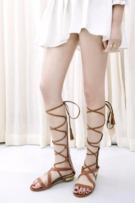 PU Open Toe Zipper Gladiator Flat Sandals