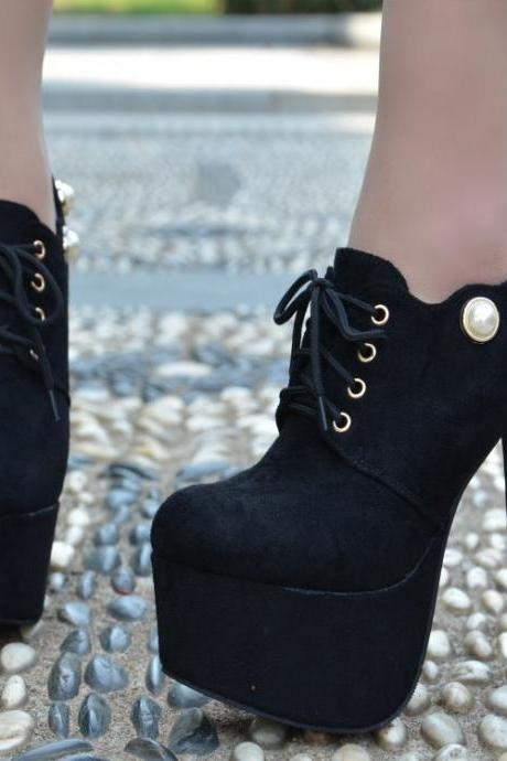 Lace-up Supper High Heel Round Toe Ankle Boots