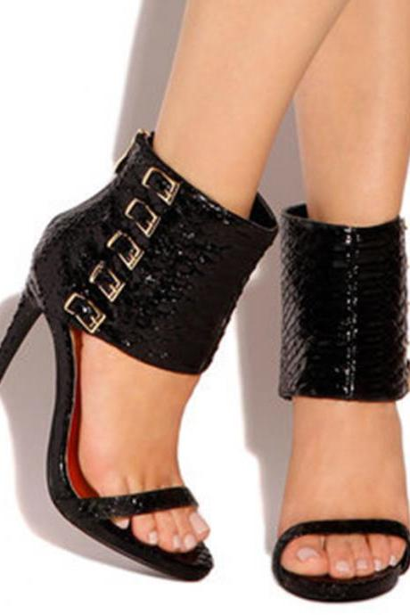 Open Toe Ankle Band Wrap Stiletto High Heel Sandals