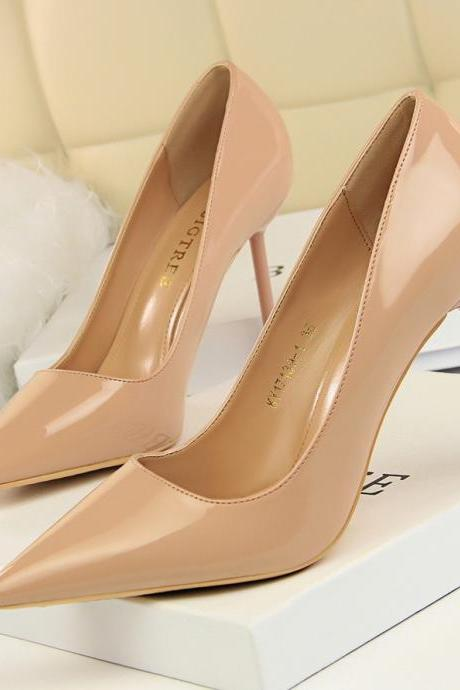 Nude Patent Leather Pointed-Toe High Heel Stilettos
