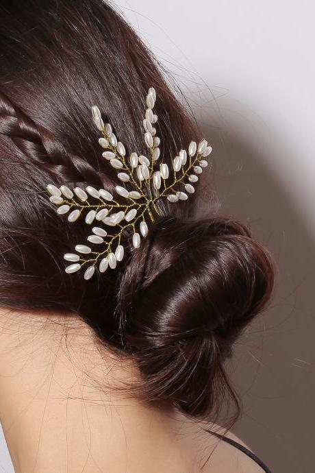 Handmade Pearl Leaf Hair Accessories