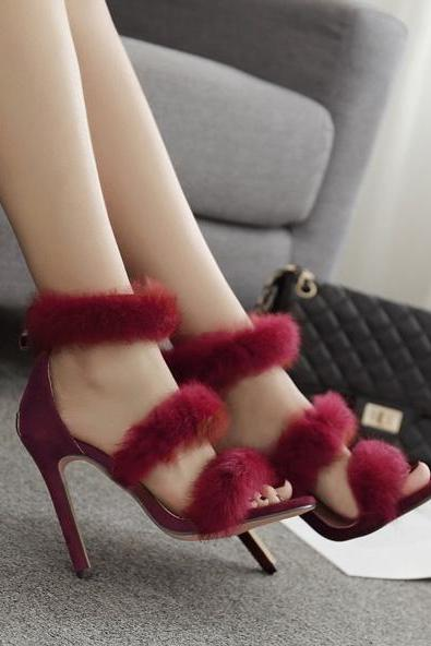 Rabbit Fur Open Toe Stiletto High Heels Sandals Party Shoes