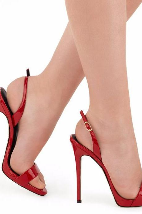 Simple Open Toe Stiletto High Heels Sandals
