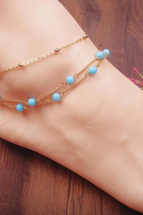 Bohemian Hand Beaded Multilayer Copper Bead Anklets