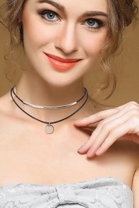 Korean Version Of Wax Line Curved Pipe Multilayer Necklace