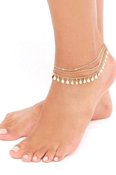 Metallic Sequins Multilayer Anklets