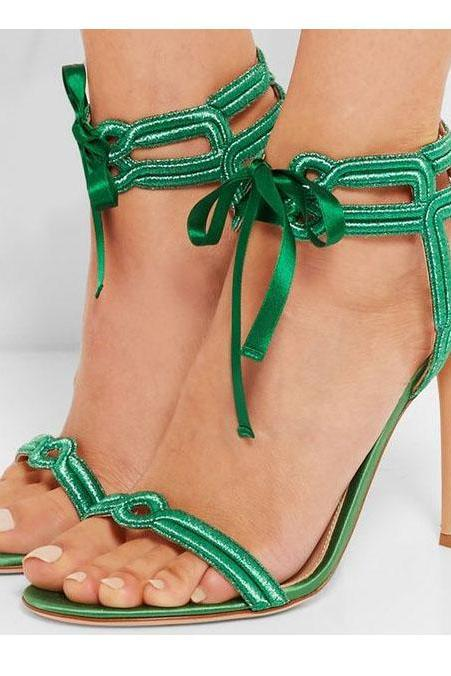 Roman Silk Straps Stiletto Heel Open-toe Ankle Strap High Heels Sandals