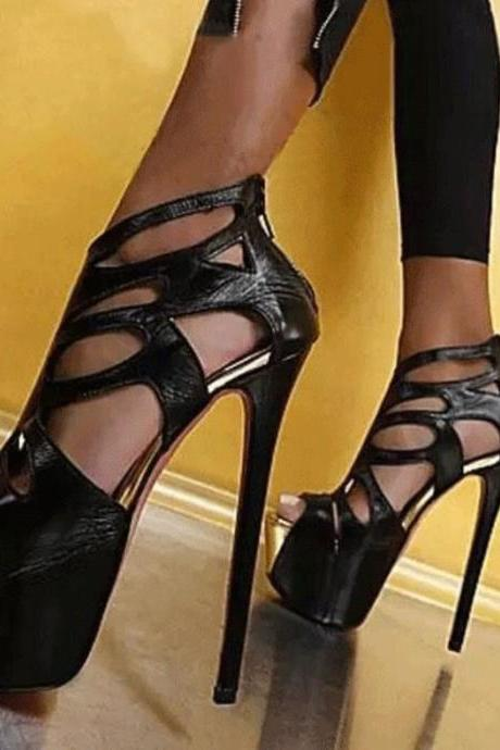 2018 New Style Hollow Out Peep Toe Platform Super High Heel Sandals