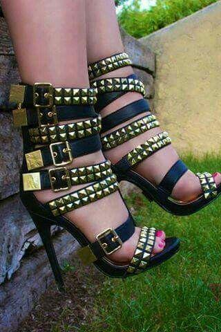 Rivets Straps Hasp Open Toe Stiletto High Heel Sandals
