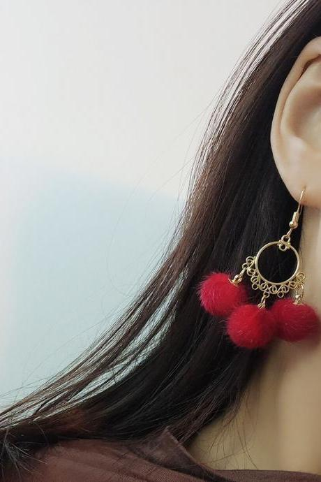 Metal Hoop Dangling Earrings with Furry Pompoms