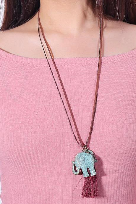 Gold Buddha Hand Long Tassel Pendant Sweater Necklace